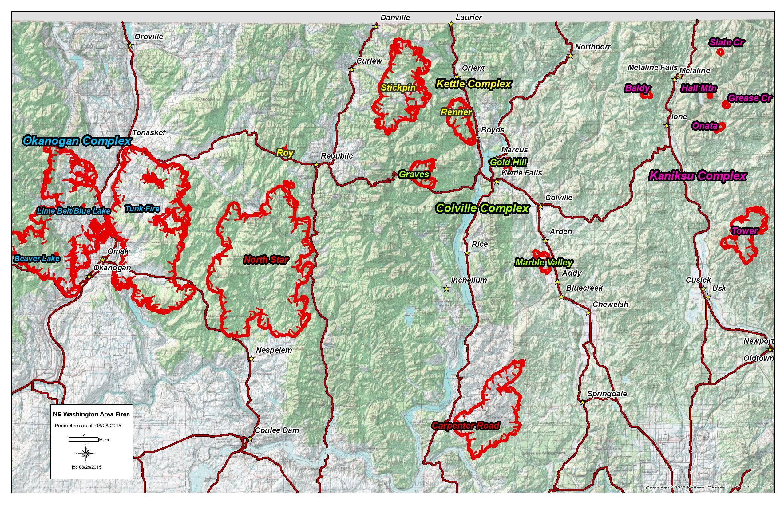 Map Of Ne Washington Area Fires 8 28 Kettle Complex Wa Fire